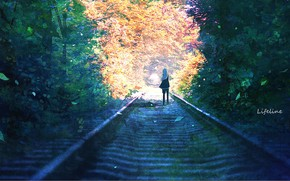 Картинка девушка, природа, рельсы, by Lifeline