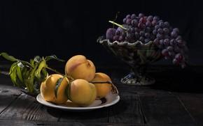 Картинка свет, виноград, фрукты, абрикосы