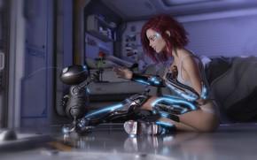Обои girl, rose, fantasy, flower, Robot, science fiction, sci-fi, rendering, digital art, artwork, fantasy art, cyborg, ...