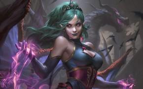 Картинка девушка, фантастика, магия, дракон, платье, вампир, уши, art, evelyn
