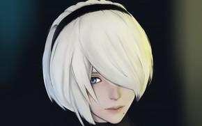 Картинка девушка, лицо, киборг, art, YoRHa No.2 Type B, nier automata