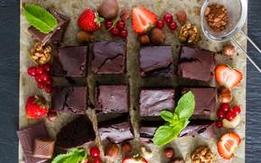 Картинка ягоды, шоколад, пирог, орехи, мята, десерт, брауни