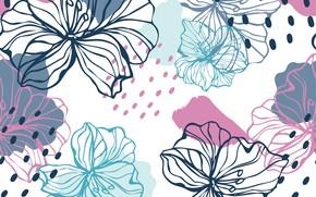 Картинка цветы, ретро, фон, бесшовный