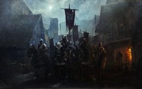 Картинка Зима, Город, Снег, Доспехи, Воин, Лошади, Рыцари, City, Воины, Winter, Warrior, Рыцарь, Snow, Rider, Knight, …