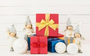 Картинка зима, праздник, рождество, эльфы, Фигурки, композиция, Подарки