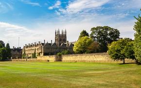 Картинка солнце, деревья, Англия, Merton College Oxford
