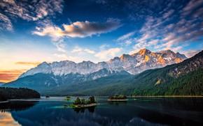 Картинка лес, небо, острова, облака, горы, озеро, синева, скалы, вершины, Германия, ели, склон, Бавария, Альпы, островки