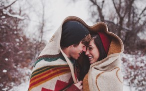 Картинка Love, Winter, Smile, Snow, Woman, Man