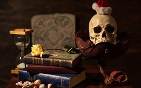 Картинка цветок, стиль, темный фон, стол, роза, книги, череп, ракушки, натюрморт, предметы, песочные часы, желтая, колпак, …