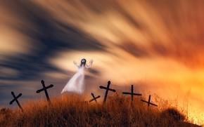 Картинка ночь, кладбище, привидение