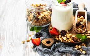 Картинка ягоды, завтрак, йогурт, гранола
