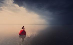 Картинка Dmitry Kupratsevich, ветер, вода, девушка, платье