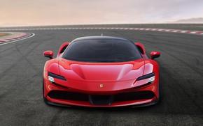 Картинка асфальт, фары, Ferrari, спорткар, Stradale, SF90