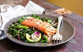 Картинка fish, fork, salad