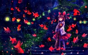 Картинка рыбки, девочка, Touhou, Тохо, Тоухоу