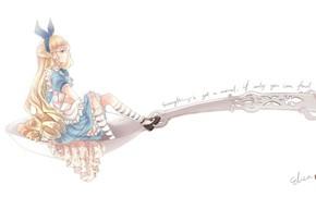 Картинка ложка, бант, длинные волосы, Алиса в Стране Чудес, фартук, alice, alice in wonderland, голубое платье, …