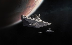 Картинка Космос, Star Wars, Империя, Space, Космические Корабли, Космический Корабль, Star Destroyer, Фантастика, Weapons, Science Fiction, …