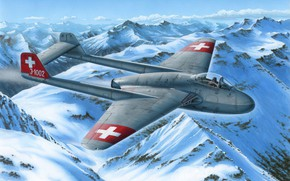 Картинка art, airplane, aviation, jet, dehavilland vampire