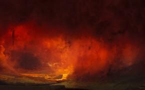 Обои Дым, Огонь, Смерть, Дьявол, Ад, Francesco Lorenzetti, by Francesco Lorenzetti, afterdeath, Hellmouth