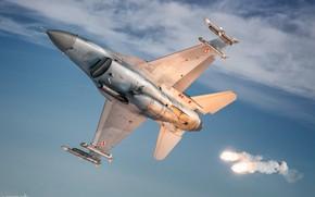 Картинка F-16, ЛТЦ, F-16 Fighting Falcon, ВВС Польши, ПТБ, AIM-120 AMRAAM, AIM-9 Sidewinder, HESJA Air-Art Photography