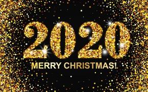 Картинка цифры, Новый год, золотой, Christmas, New Year, Merry, 2020