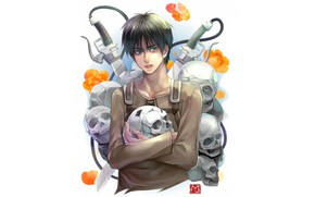 Картинка череп, парень, Атака Титанов, Shingeki No Kyojin, Эрен Йегер