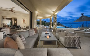 Картинка мебель, вилла, интерьер, бассейн, France, терраса, жилое пространство, St.Tropez, Luxury Villa, Villa Water's Edge