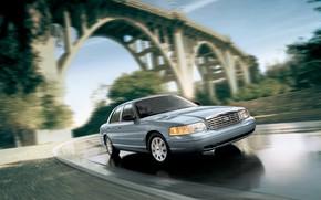 Картинка Ford, Car, Speed, Bridge, Crown Victoria