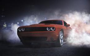 Картинка Красный, Авто, Дорога, Ночь, Дым, Машина, Dodge, Challenger, Dodge Challenger, Concept Art, Transport & Vehicles, …