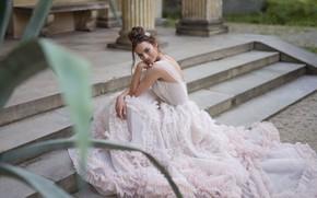 Картинка стиль, модель, платье, ступени, невеста