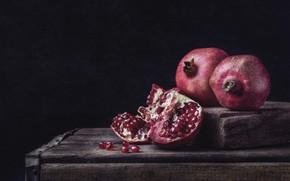 Картинка темный фон, доски, фрукты, натюрморт, гранаты, гранат, гранатовые зерна, раломленный