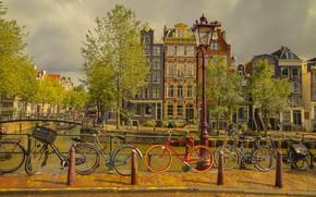 Картинка велосипед, дома, Амстердам, Нидерланды