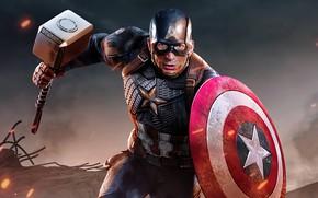 Картинка молот, герой, костюм, щит, Marvel, Captain America, Chris Evans