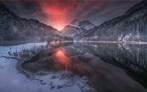 Картинка зима, снег, горы, снежок