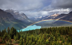 Картинка Природа, Облака, Горы, Озеро, Лес, Радуга, Пейзаж, Долина