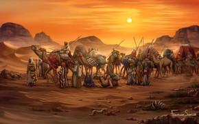 Картинка Закат, Рисунок, Игра, Караван, Египет, Art, Game, Illustration, Верблюды, Game Art, Board Game, Century Spice …