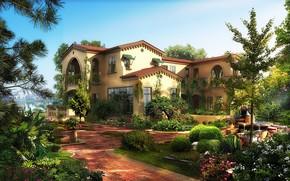 Картинка город, вилла, сад, особняк