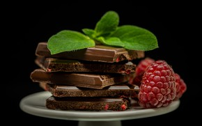 Картинка ягоды, фон, шоколад