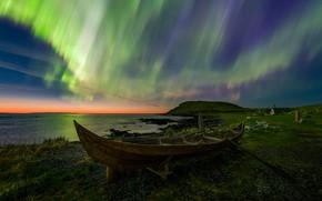 Обои лодка, Ньюфаундленд, Норстед, Деревня Викингов, Северное Сияние