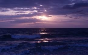 Картинка волны, небо, солнце, облака, закат, природа, океан, вечер