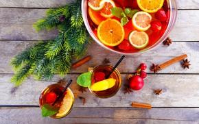 Картинка лимон, елка, апельсин, клубника, сок, Рождество, корица, цитрусы