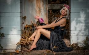 Картинка лето, взгляд, листья, девушка, свет, цветы, природа, лицо, поза, уют, стена, настроение, ноги, букет, руки, …