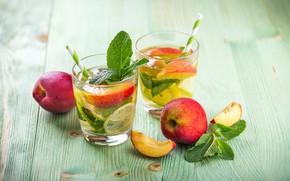 Картинка лайм, стаканы, напиток, персик, лимонад