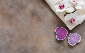 Картинка полотенце, орхидея, спа, морская соль