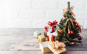 Картинка украшения, елка, Новый Год, Рождество, подарки, Christmas, wood, tree, New Year, decoration, xmas, gift box, …