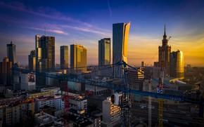 Картинка ночь, небоскребы, Польша, Варшава