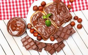 Картинка шоколад, тарелка, хлеб, орехи, сладкое, паста