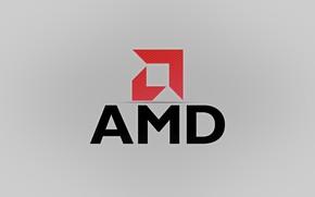 Картинка красный, серый, фон, логотип, AMD
