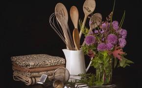 Картинка цветы, букет, натюрморт, столовые приборы, кухонная утварь
