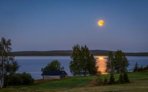 Картинка озеро, луна, вечер, Финляндия